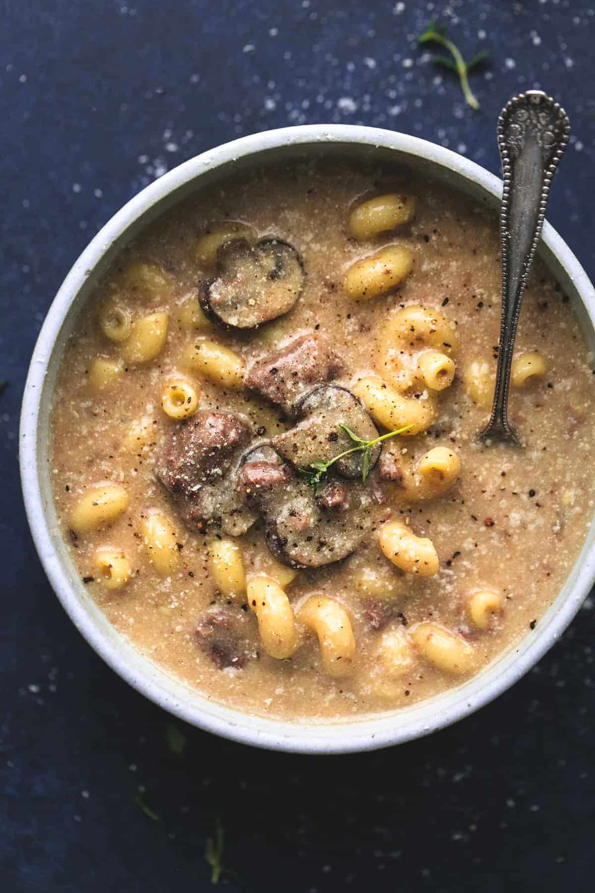Instant Pot or Slow Cooker Beef Stroganoff Soup | lecremedelacrumb.com