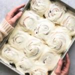 Eggnog Cinnamon Rolls | lecremedelacrumb.com