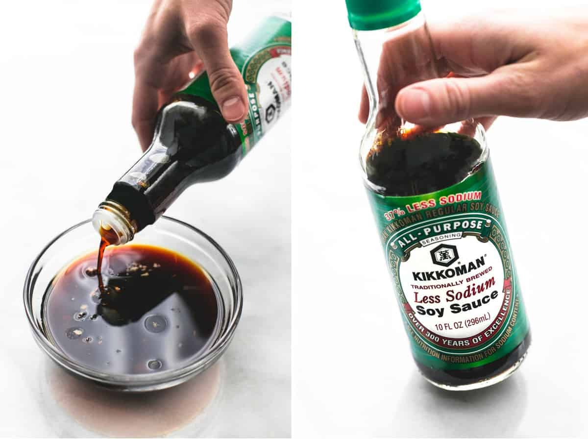 side by side images of a bottle of Kikkoman soy sauce being held up and poured into a bowl.