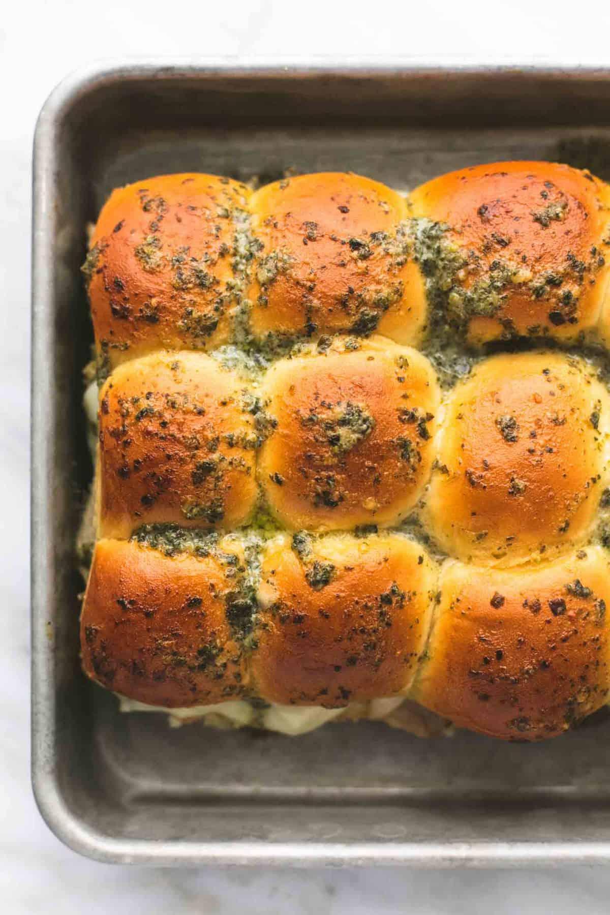 Pesto Mozzarella Chicken Sliders | lecremedelacrumb.com