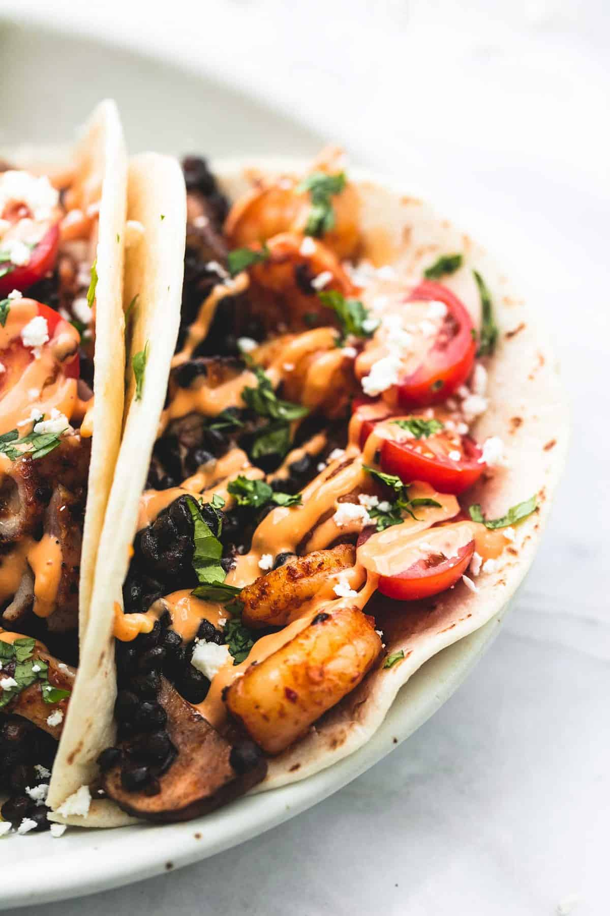 Shrimp or Chicken and Lentil Tacos | lecremedelacrumb.com