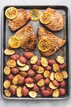 Sheet Pan Lemon Herb Tuna Steaks and Potatoes | lecremedelacrumb.com