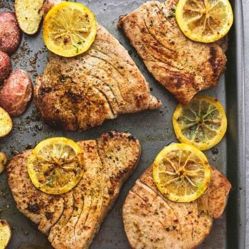 Sheet Pan Lemon Herb Tuna Steaks and Potatoes | lecremedelacrumb.com