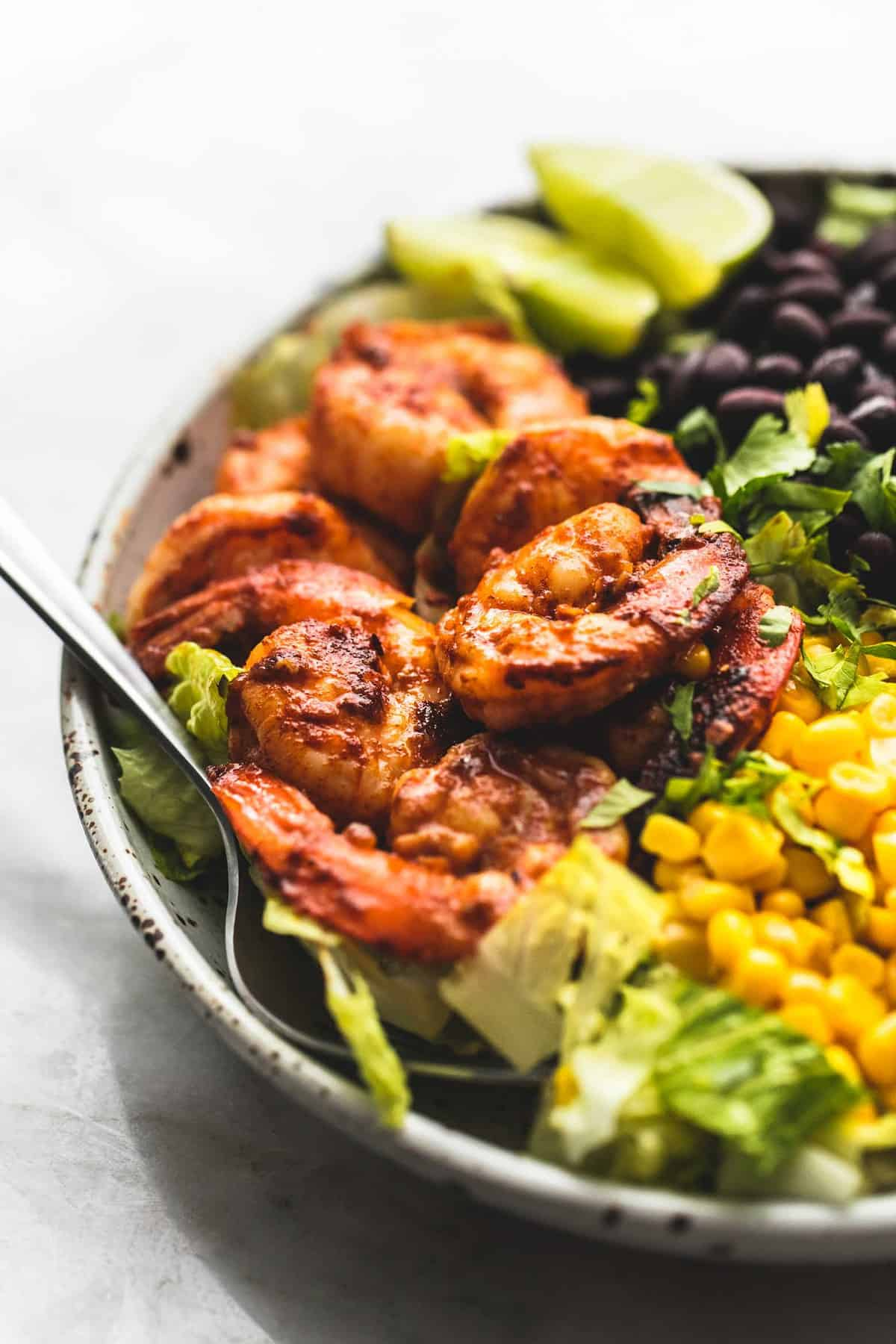 Fiesta Lime Shrimp Salad easy tasty dinner recipe | lecremedelacrumb.com