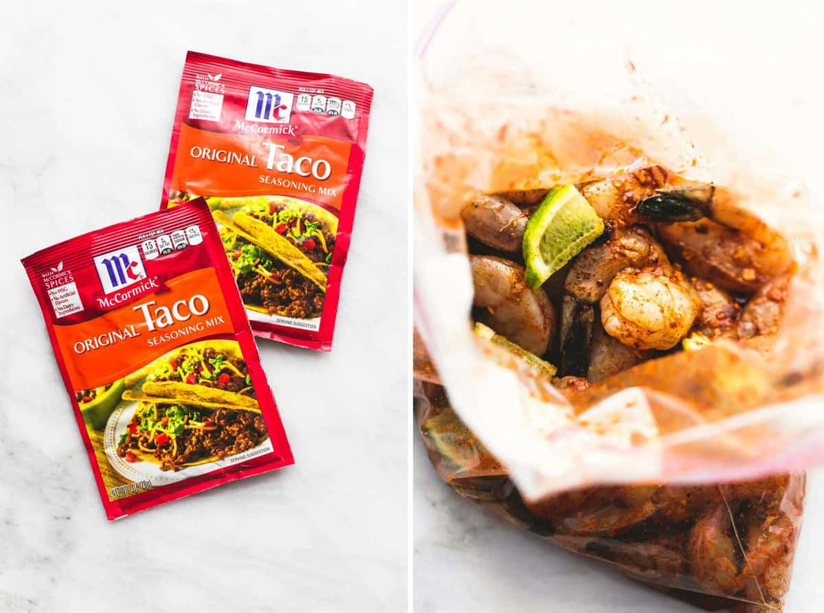 side by side images of taco seasoning packets and fiesta lime shrimp in a zip lock bag.