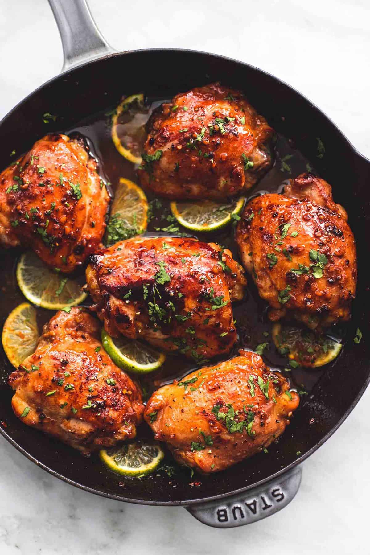 Incredibly flavorful Honey Lime Garlic Chicken is pan-seared for a crispy outside and baked for a juicy, tender center. One pan, ready in 30 minutes, you can't go wrong with this easy dinner recipe!