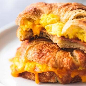 Baked Croissant Breakfast Sandwiches | lecremedelacrumb.com