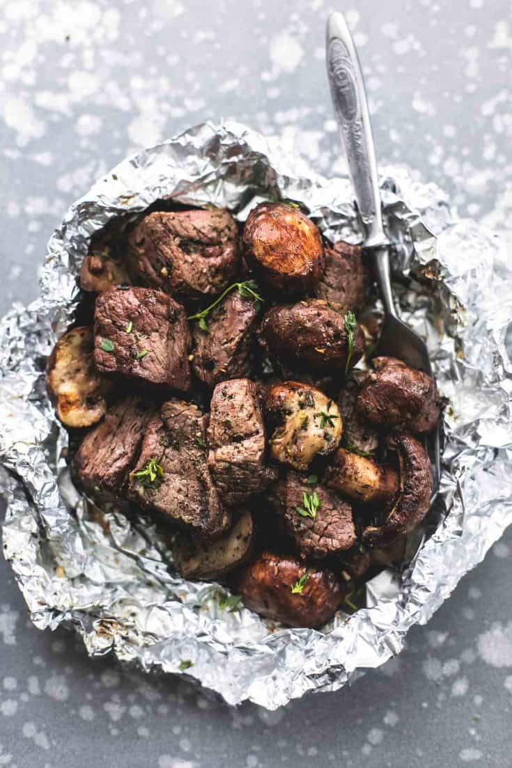 Buttery Garlic Steak and Mushroom Foil Packs