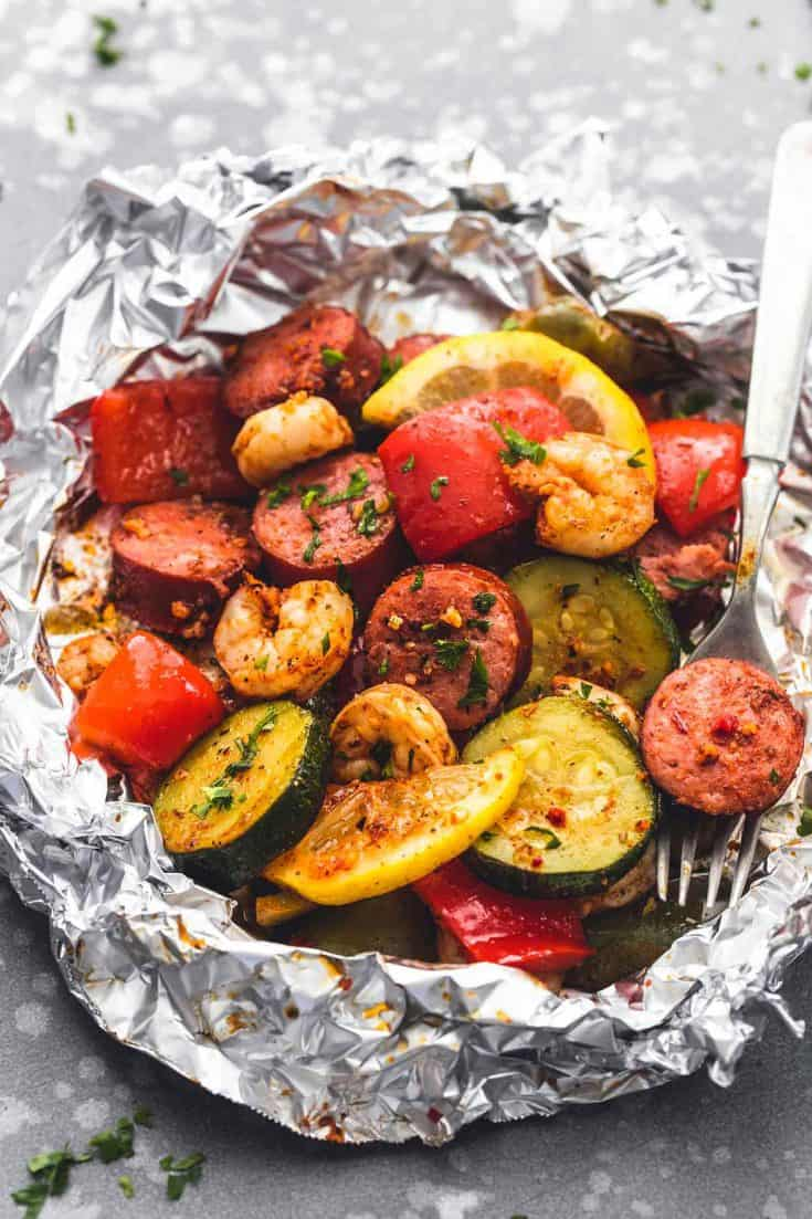 Shrimp Sausage and Veggie Foil Packs