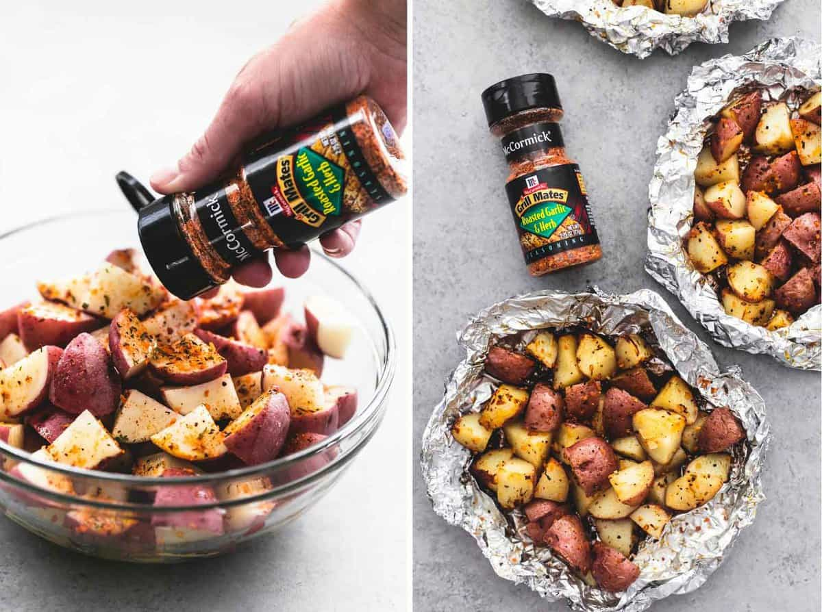 side by side images of a hand pouring Grill Mates roasted garlic and herb seasoning onto potatoes in a glass bowl and potatoes in foil packs with a Grill Mates seasoning container on the side.
