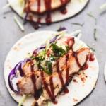 Mini Grilled BBQ Chicken Tacos easy appetizer recipe | lecremedelacrumb.com