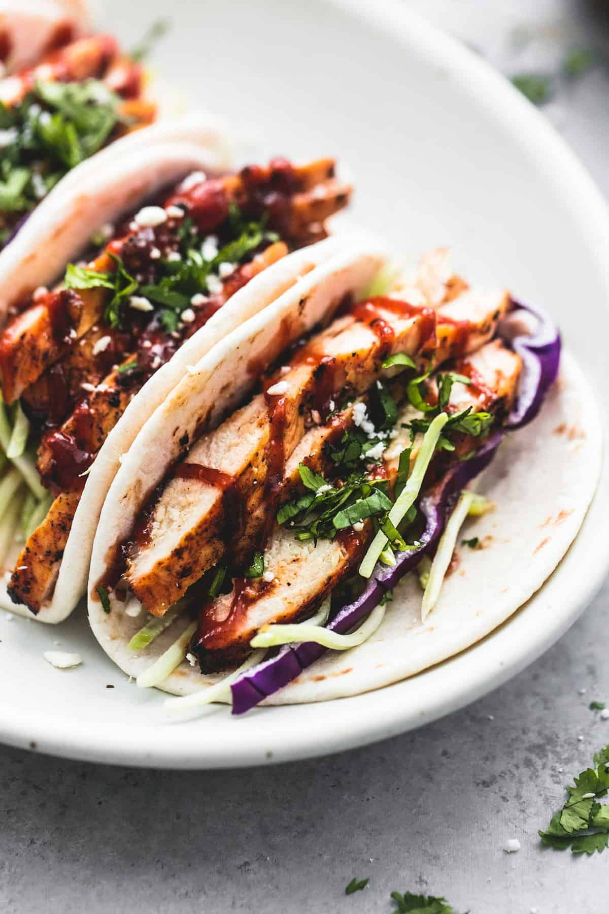 Mini Grilled BBQ Chicken Tacos easy appetizer recipe | lecremedelacrumb.com