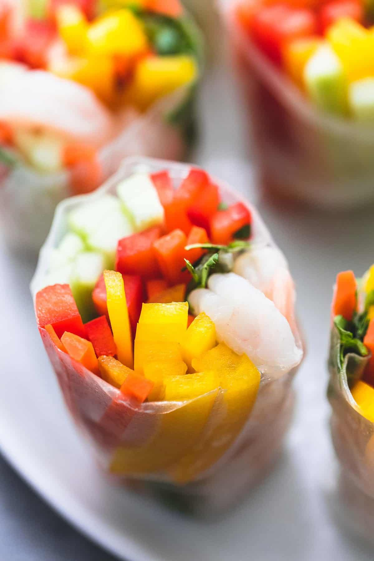 Shrimp and Veggie Spring Rolls easy appetizer recipe | lecremedelacrumb.com