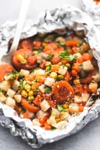 Easy Vegetable Medley Foil Packs side dish recipe | lecremedelacrumb.com