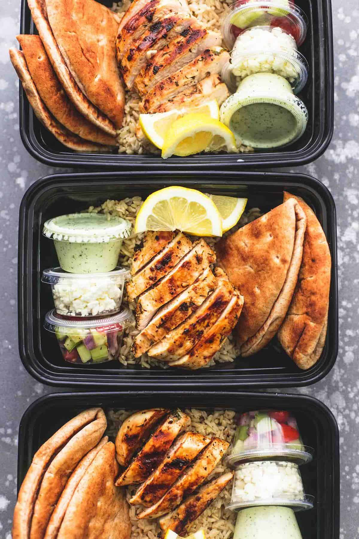 Meal Prep Greek Chicken Gyro Bowls | lecremedelacrumb.com