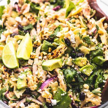Easy Mexican Street Corn Chicken Pasta Salad recipe | lecremedelacrumb.com