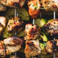 Zesty Herb Chicken and Veggie Skewers   lecremedelacrumb.com