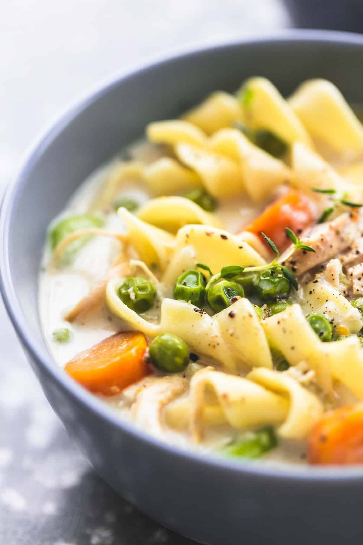 Slow Cooker OR Instant Pot Creamy Chicken Noodle Soup | lecremedelacrumb.com