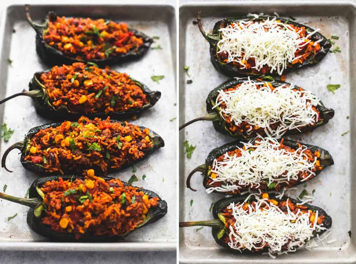 side by side images of Southwest stuffed poblano peppers uncooked with and without cheese on a baking sheet.