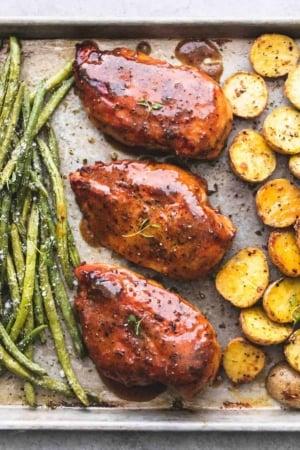 Sheet Pan Chicken Potatoes and Green Beans recipe | lecremedelacrumb.com
