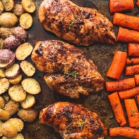Easy Sheet Pan Balsamic Chicken with Potatoes and Carrots recipe | lecremedelacrumb.com