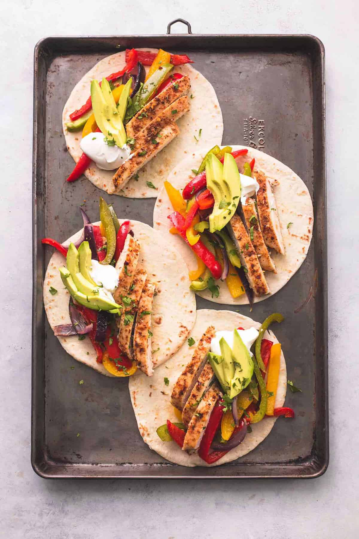 Healthy Sheet Pan Chicken Fajitas | lecremedelacrumb.com