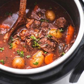 Easy Instant Pot Beef Bourguignon recipe | lecremedelacrumb.com