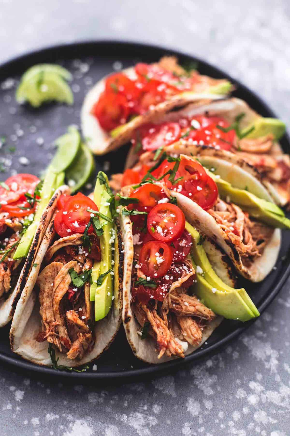 Instant Pot Shredded Chicken Tacos | lecremedelacrumb.com