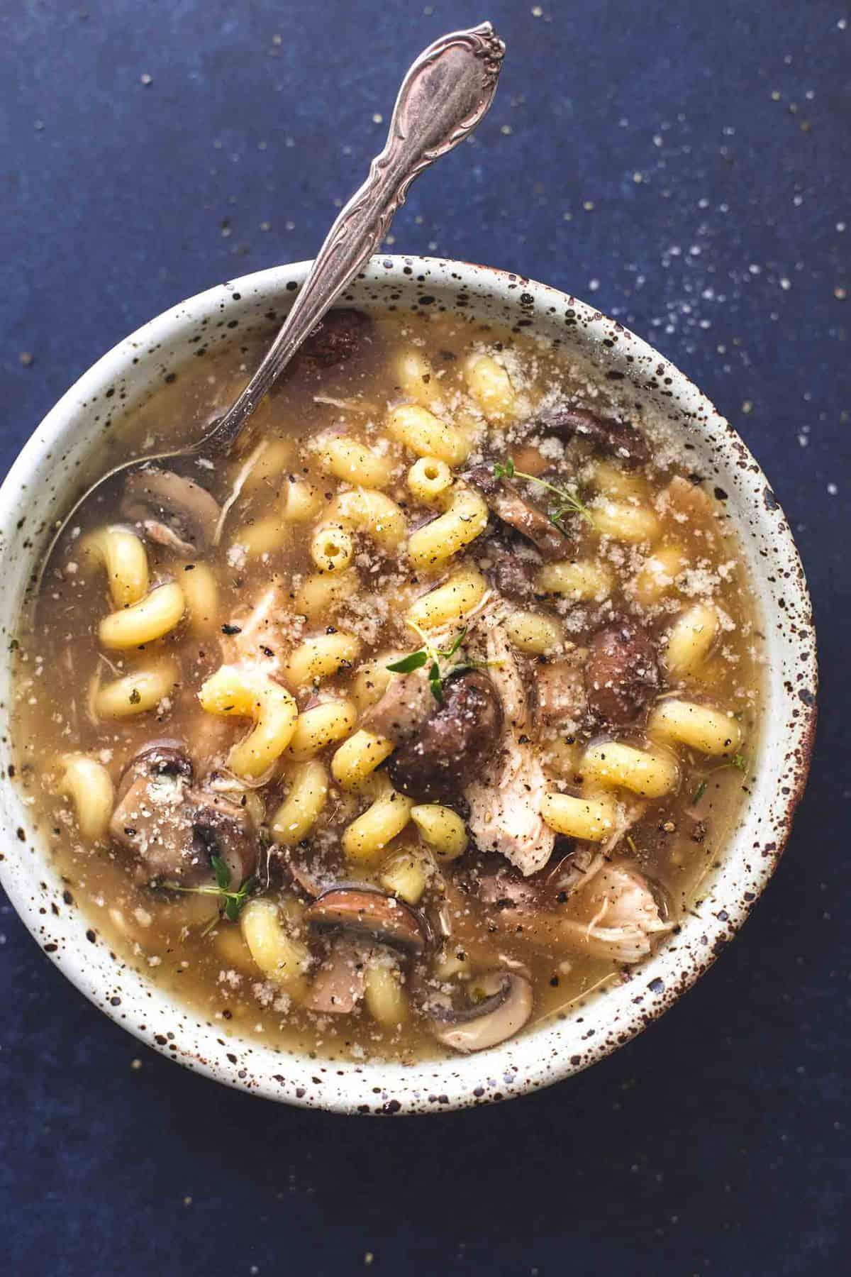Easy Instant Pot or Slow Cooker Chicken Marsala Soup recipe | lecremedelacrumb.com