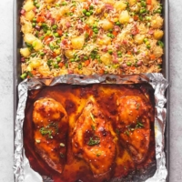 Easy Sheet Pan Teriyaki Chicken and Pineapple Fried Rice recipe | lecremedelacrumb.com