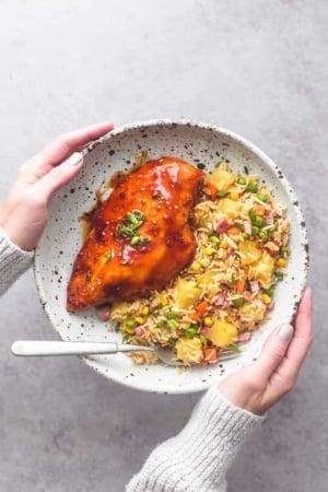 Easy Sheet Pan Teriyaki Chicken and Pineapple Fried Rice recipe | lecremedelacrumb.com