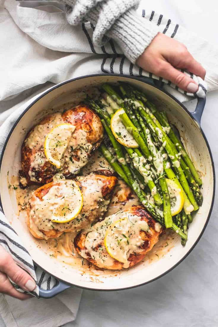 One Pan Creamy Lemon Chicken and Asparagus
