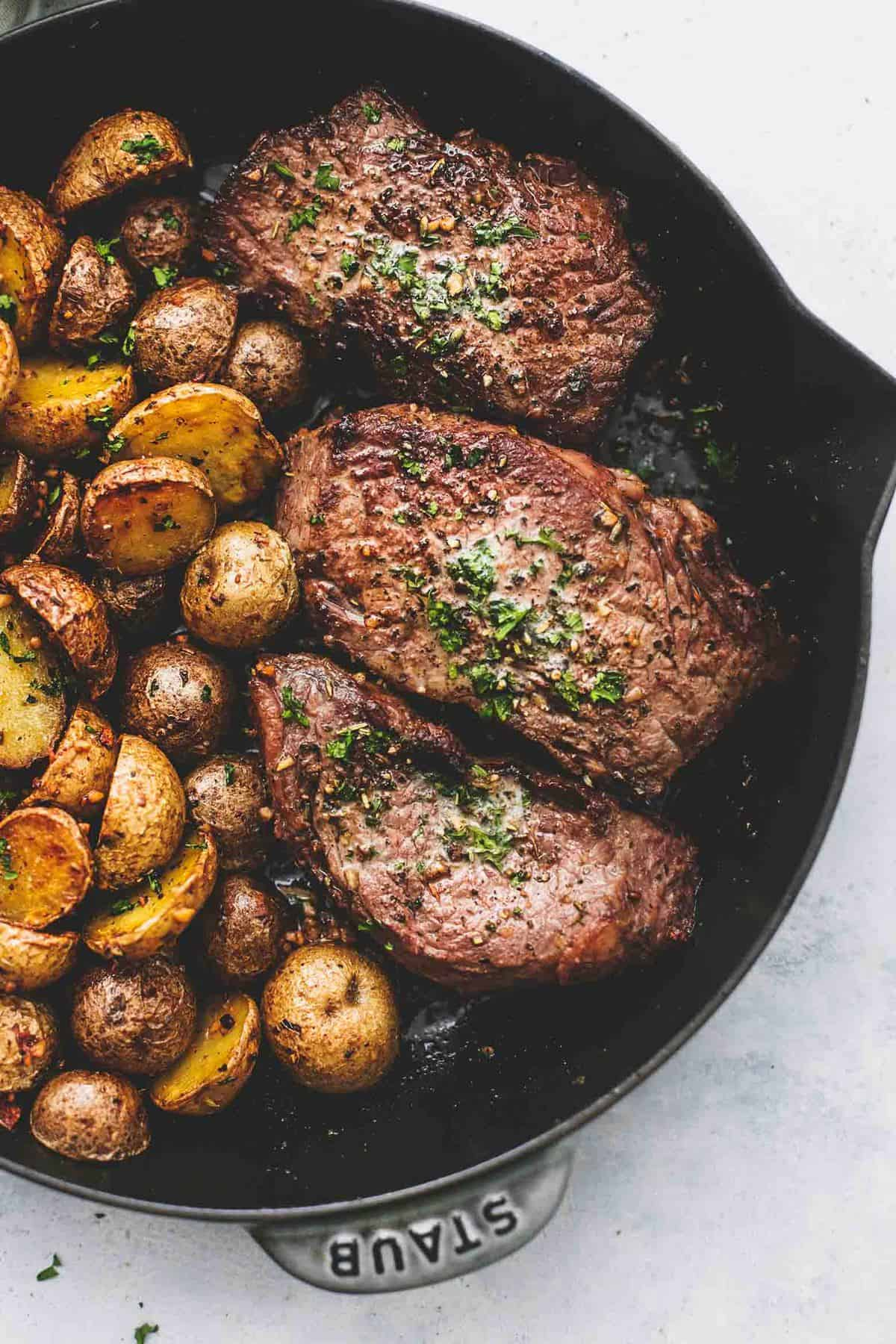 Garlic Butter Steak and Potatoes Skillet recipe | lecremedelacrumb.com