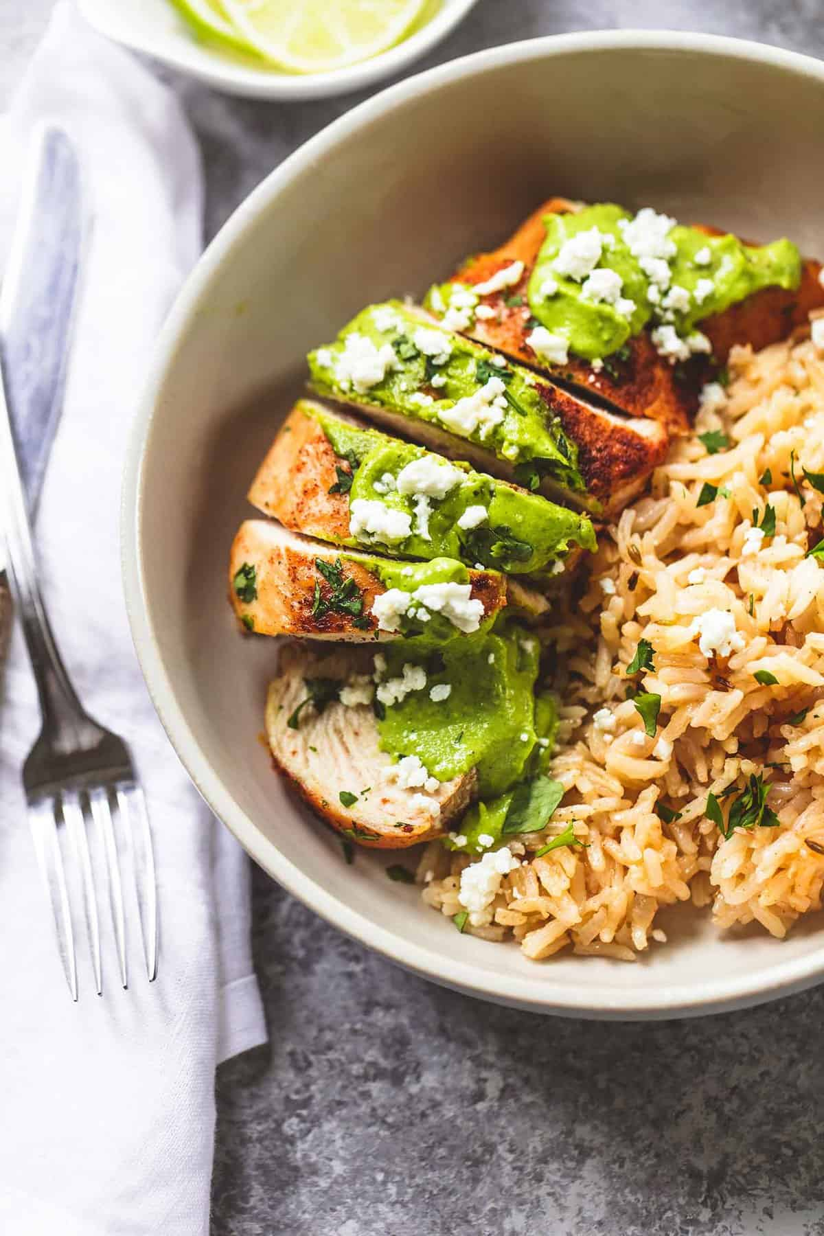 One Pan Creamy Cilantro Lime Chicken and Rice easy dinner recipe | lecremedelacrumb.com