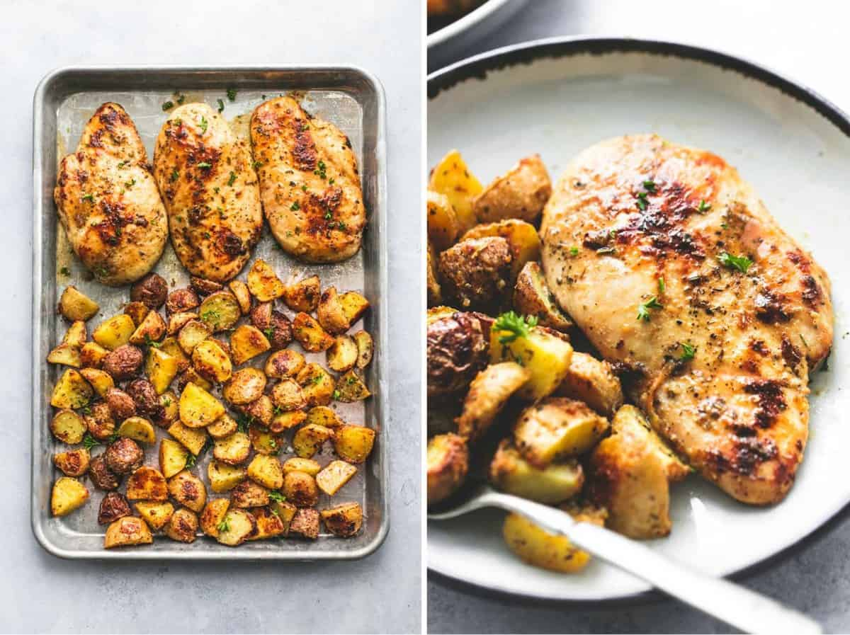 Easy Sheet Pan Chicken and Potatoes (Five Ingredients) Dinner Recipe | lecremedelacrumb.com