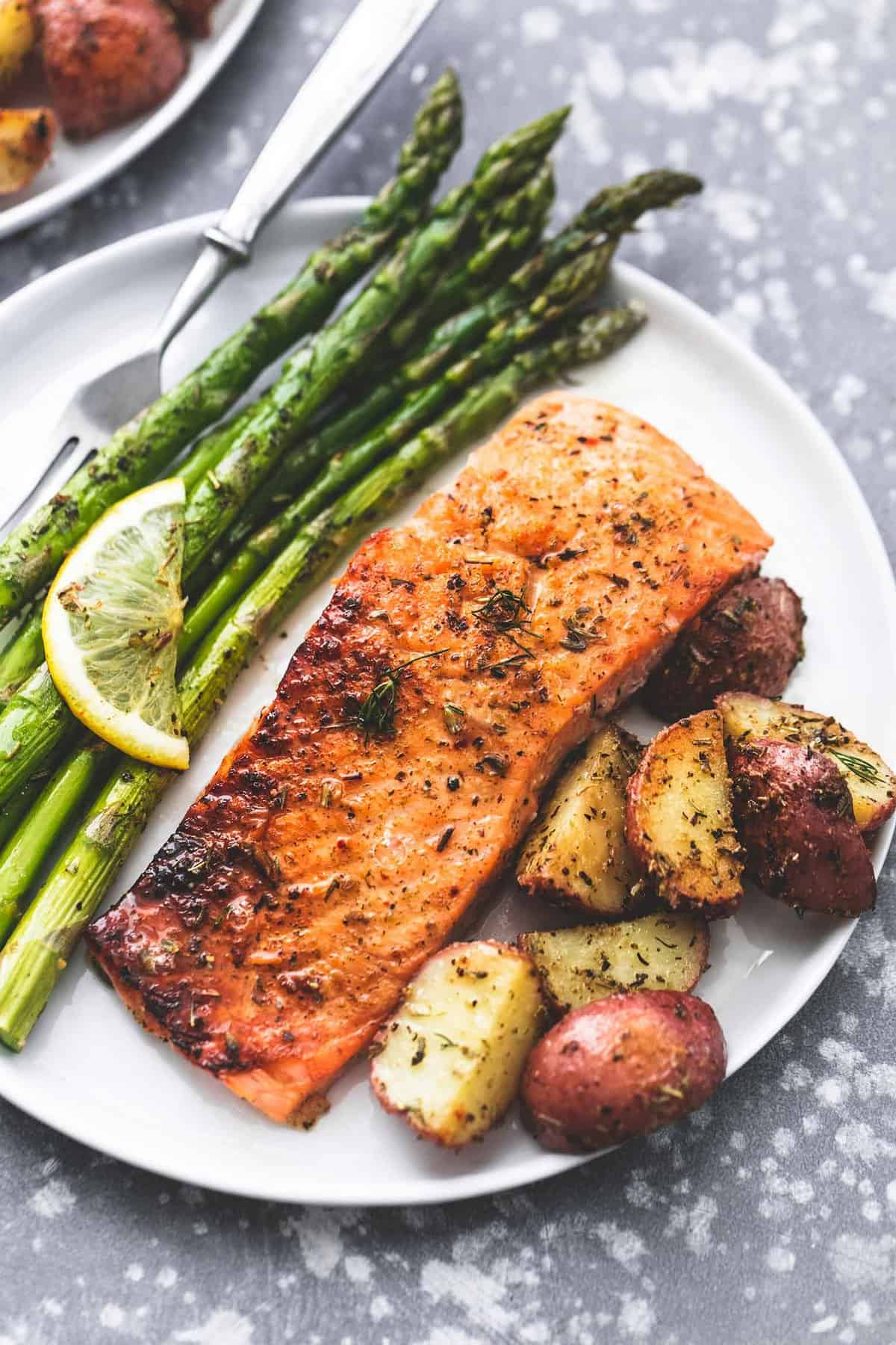 Sheet Pan Salmon And Asparagus With Potatoes