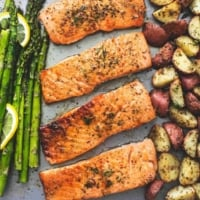 Easy healthy One Sheet Pan Baked Salmon and Asparagus with Potatoes dinner recipe | lecremedelacrumb.com