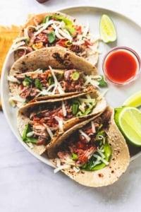 Slow Cooker Pork Tacos easy dinner recipe | lecremedelacrumb.com