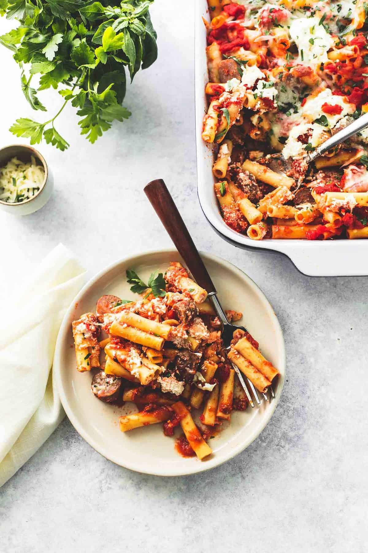 Baked Ziti with Ricotta and Sausage easy dinner recipe | lecremedelacrumb.com