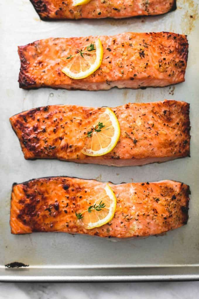 Best Easy Healthy Baked Salmon recipe | lecremedelacrumb.com
