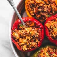 BEST Ever Easy Stuffed Peppers (5 Ingredients) recipe | lecremedelacrumb.com