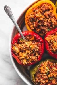 BEST Ever Easy Stuffed Peppers (5 Ingredients) recipe | lecremedelacrumb.com