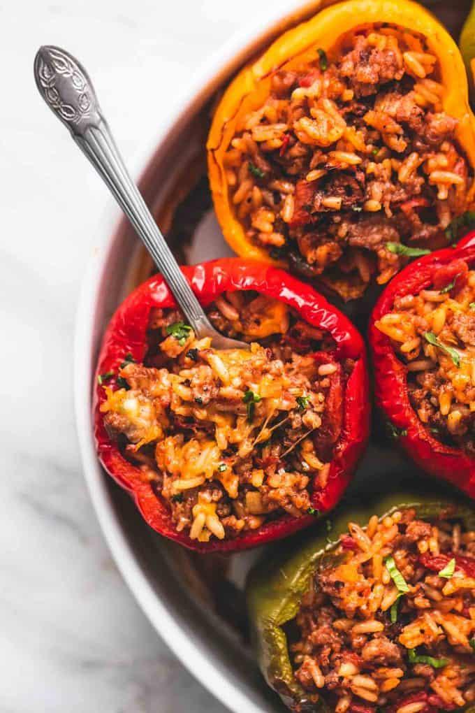 Best Ever Easy Stuffed Peppers Five Ingredients Creme De La Crumb
