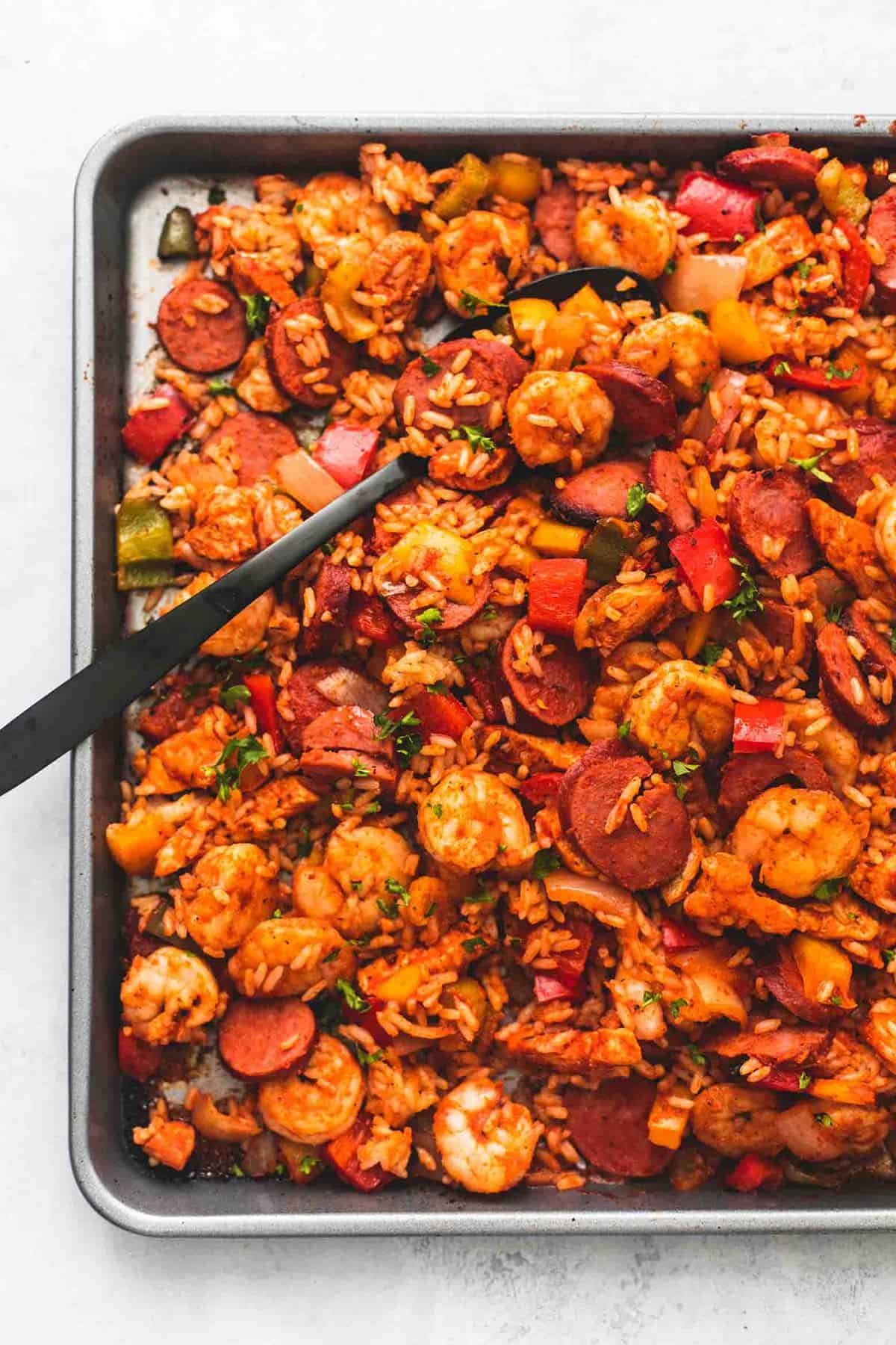 Easy Sheet Pan Jambalaya recipe | lecremedelacrumb.com