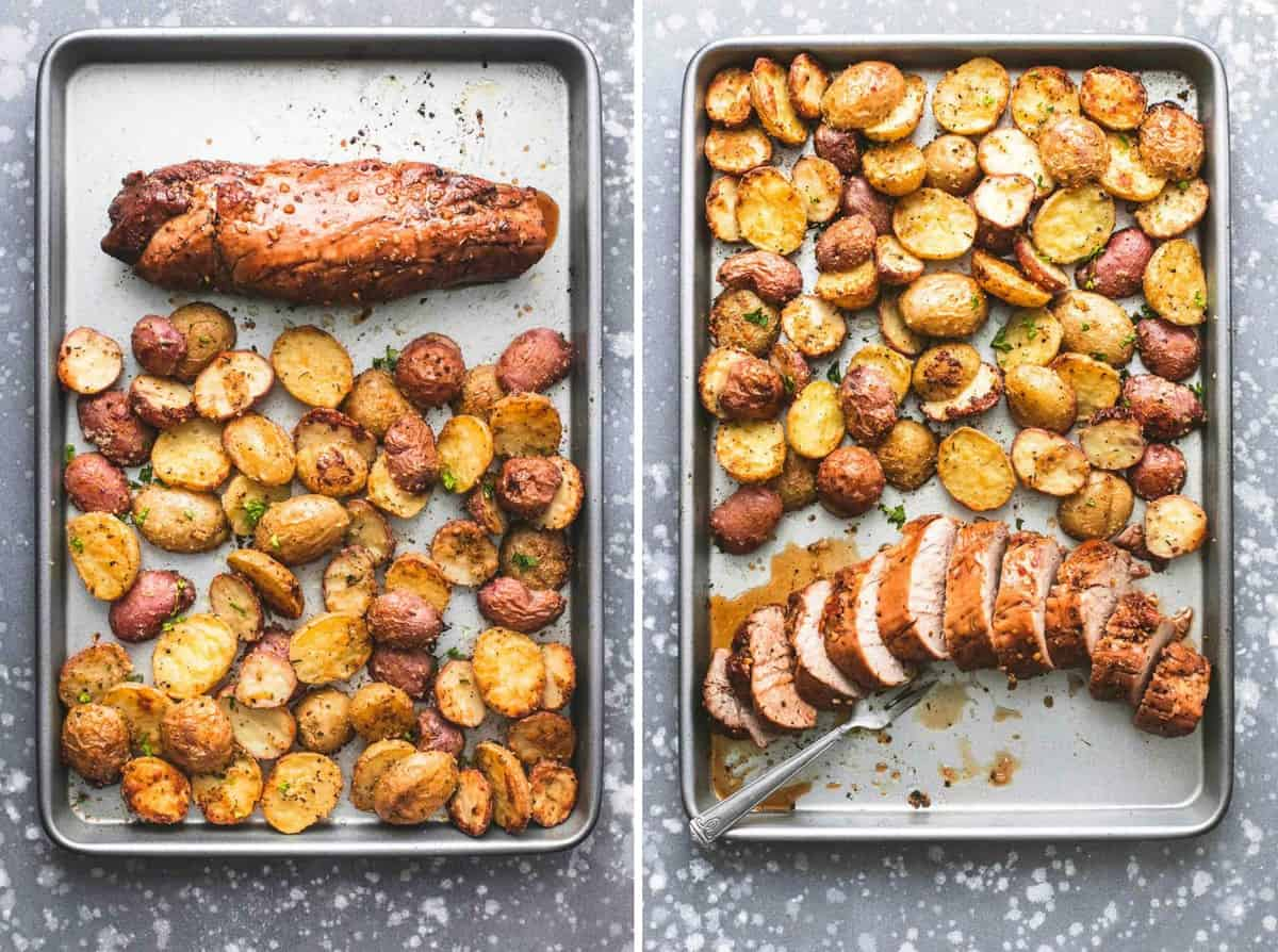 Easy Sheet Pan Pork Tenderloin and Potatoes recipe | lecremedelacrumb.com