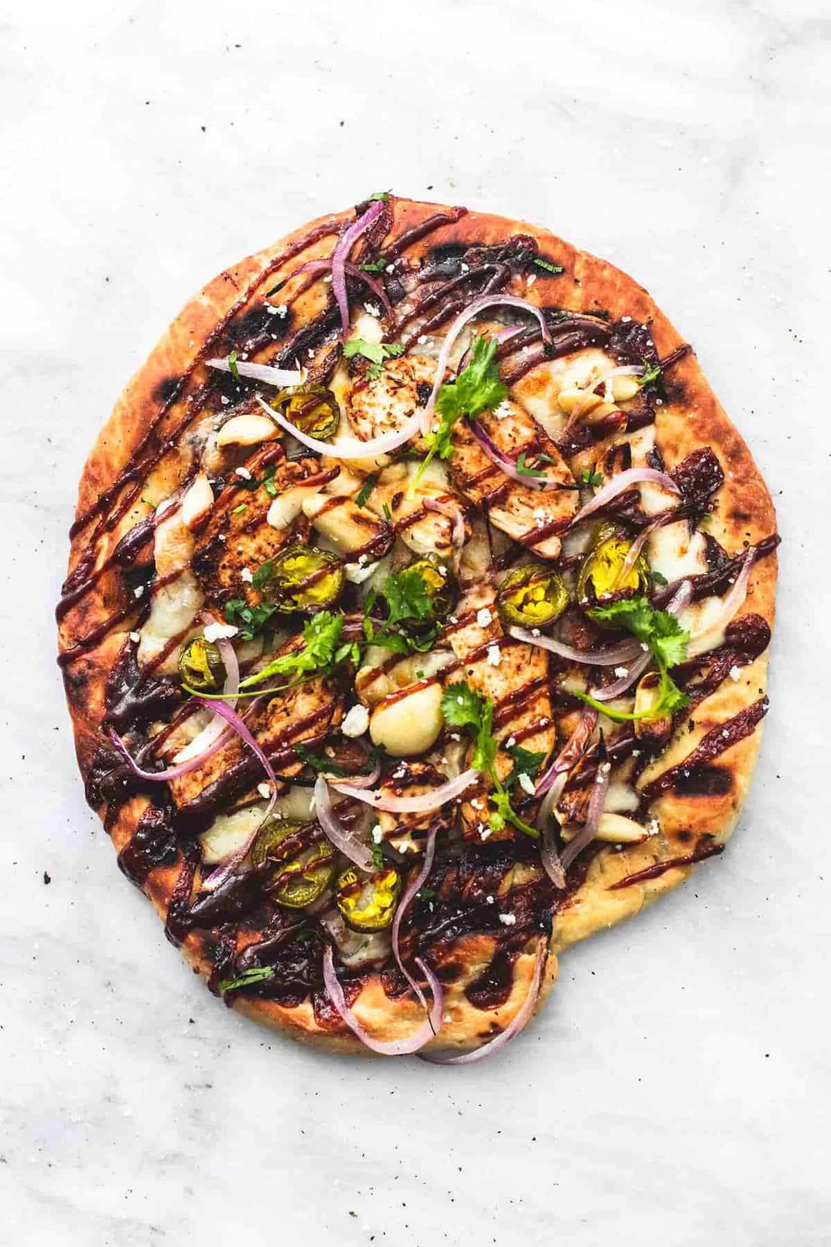 Grilled BBQ Chicken Pizza | lecremedelacrumb.com