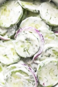 Quick and Creamy Cucumber Salad easy side dish recipe   lecremedelacrumb.com