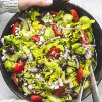Easy Greek Tossed Green Salad side dish recipe | lecremedelacrumb.com