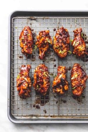 Spicy Korean BBQ Chicken Wings recipe lecremedelacrumb.com