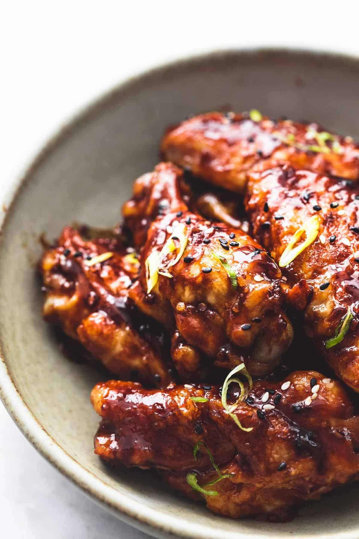 Spicy Korean BBQ Chicken Wings recipe lecremedelacrumb.com